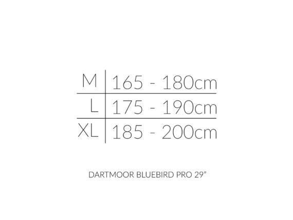 Dartmoor Bluebird PRO 29 størrelsesoversikt