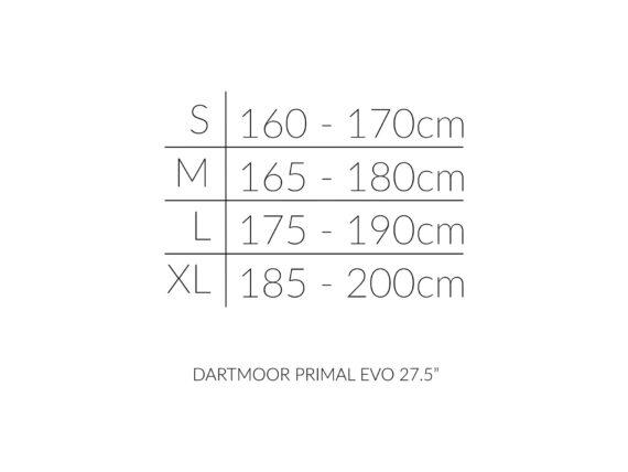 Dartmoor Primal EVO 27.5 størrelsesoversikt