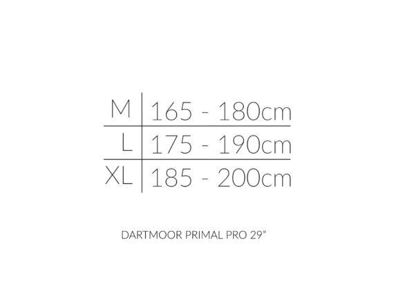 Dartmoor Primal PRO 29 størrelsesoversikt