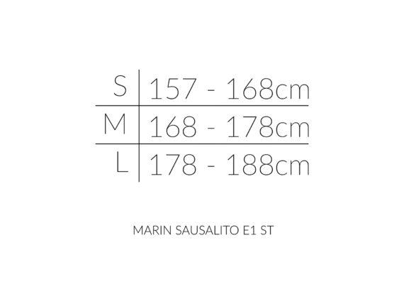 MARIN SAUSALITO E1 ST størrelsesoversikt
