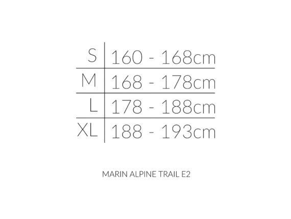Marin Alpine Trail E2 størrelsesoversikt