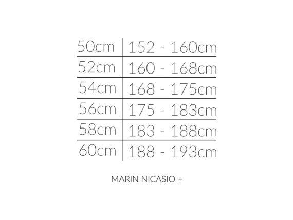 Marin NICASIO PLUS størrelsesoversikt