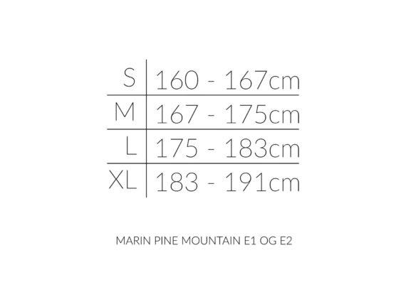 Marin PINE MOUNTAIN E størrelsesoversikt