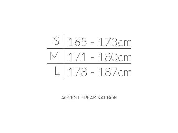 ACCENT FREAK KARBON størrelseoversikt