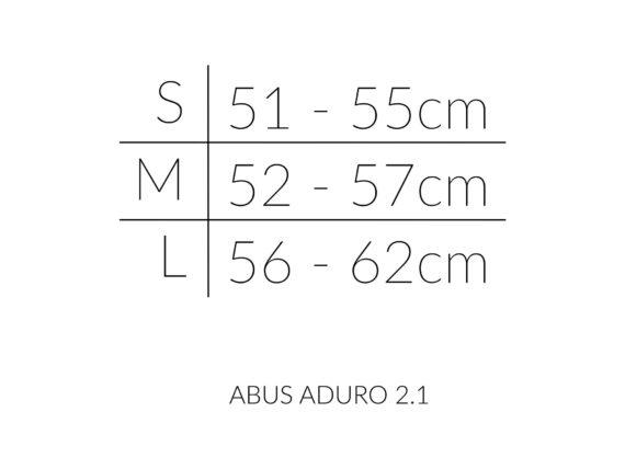 Abus Aduro størrelseoversiktjpg